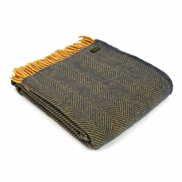 Pure New Wool Herringbone Throw Blanket - Navy & Mustard
