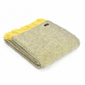 Pure New Wool Herringbone Throw Blanket Silver Grey & Lemon