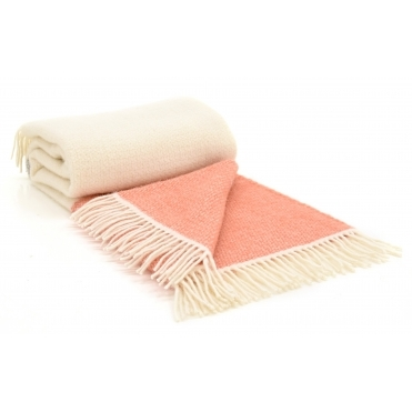 Pure New Wool Illusion Panel Throw Blanket - Cream & Apricot