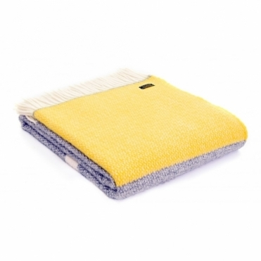 Pure New Wool Illusion Panel Throw Blanket Grey & Yellow