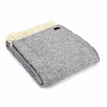 Pure New Wool Illusion Throw Blanket Grey