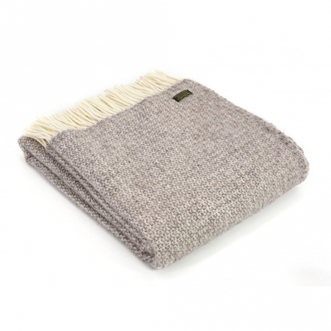 Tweedmill Pure New Wool Illusion Throw Blanket Natural