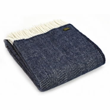 Pure New Wool Knee Lap Blanket - Fishbone Navy