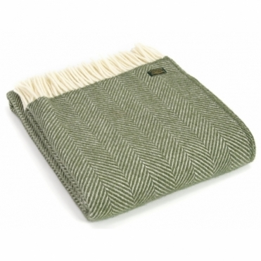 Pure New Wool Knee Lap Blanket - Fishbone Olive