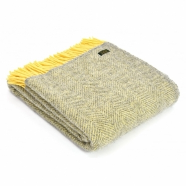 Pure New Wool Knee Lap Blanket - Herringbone Silver Grey & Lemon