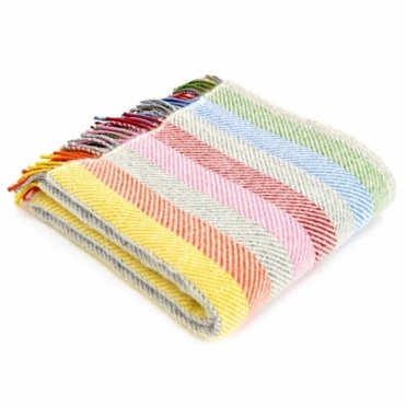 Pure New Wool Knee Lap Blanket - Rainbow Grey Stripe