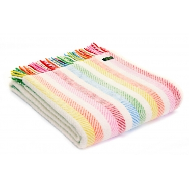 Pure New Wool Knee Lap Blanket - Rainbow Stripe