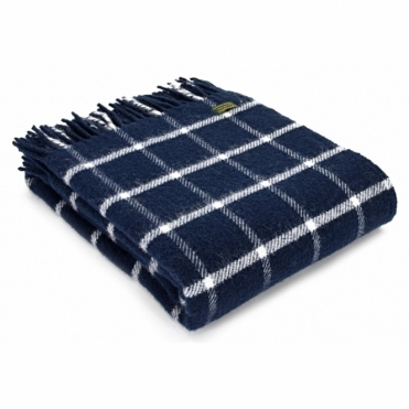 Pure New Wool Throw Blanket - Chequered Check Navy & Cream