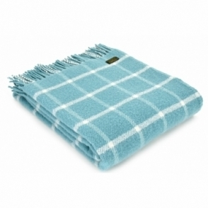 Pure New Wool Throw Blanket - Chequered Check Spearmint & Cream