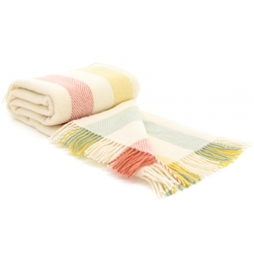 Pure New Wool Throw Blanket - Summer Stripe