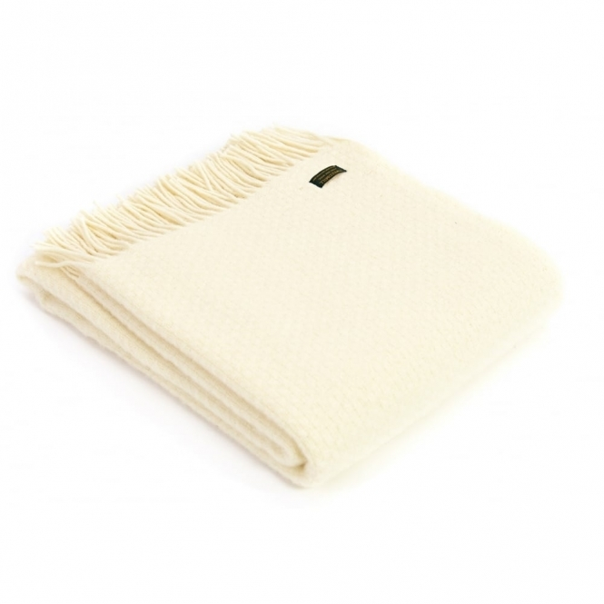 Tweedmill Pure New Wool Wafer Plain Throw Blanket - Cream