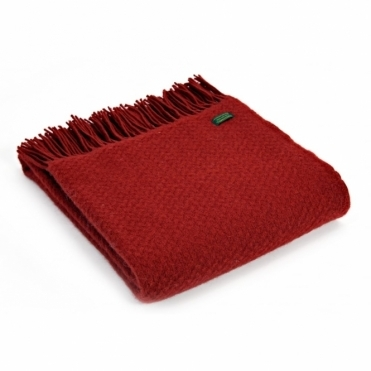 Pure New Wool Wafer Plain Throw Blanket - Red