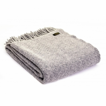 Pure New Wool Wafer Plain Throw Blanket - Silver Grey
