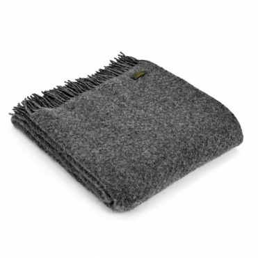 Pure New Wool Wafer Plain Throw Blanket - Slate