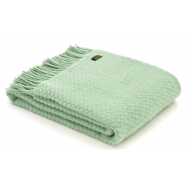 Pure New Wool Wafer Throw Blanket - Laurel Green