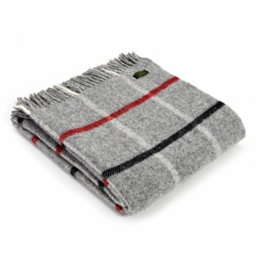 Pure New Wool Windowpane Throw Blanket Grey, Black & Red