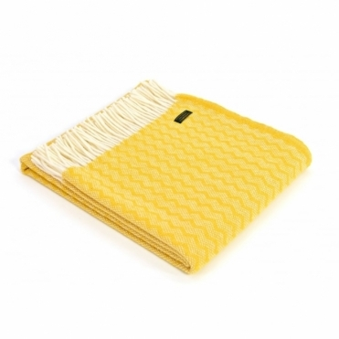 Pure New Wool Zig Zag Throw Blanket Yellow