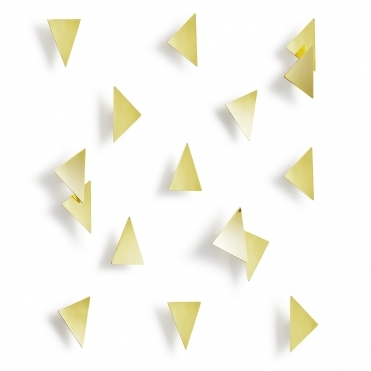 Brass Confetti Triangles Wall Decor - Set of 16