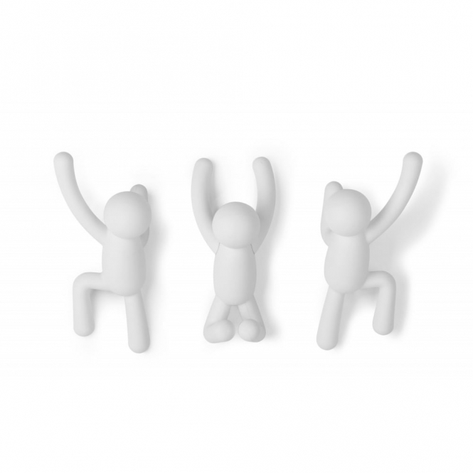 Umbra Buddy Wall Coat Hooks White - Set of 3