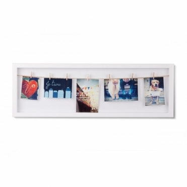 Clothesline Flip Photo Display Frame - White