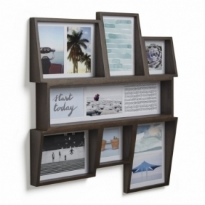 Edge Multi Photo Wall Display - Aged Walnut