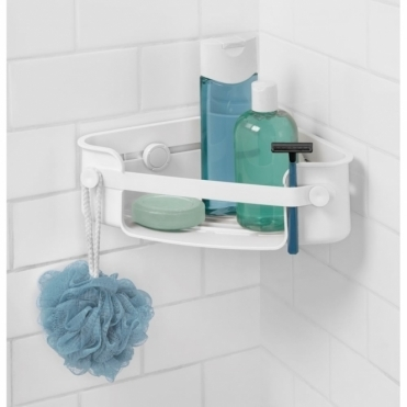 Flex Gel-Lock Shower Corner Shelf - White