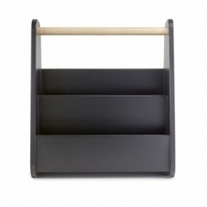 Gazette Wood Magazine Rack - Black / Natural