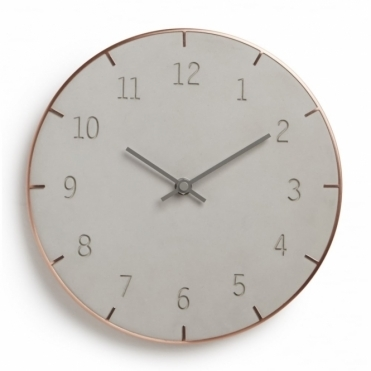 Piatto Wall Clock - Concrete / Copper