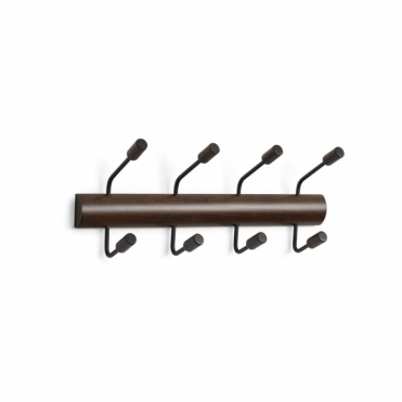 Pogo 4 Coat Hook Wall / Over The Door - Black/Walnut