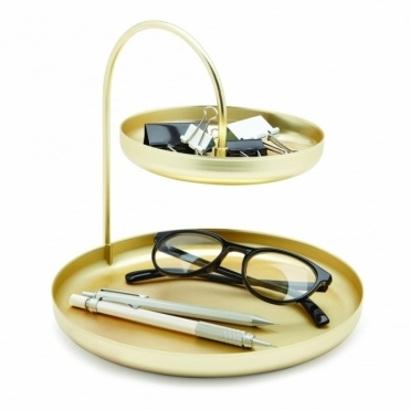 Poise 2 Tier Jewellery / Accessory Tray - Brass