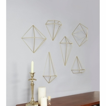 Prisma Matte Brass Wall Decor Art - Set of 6