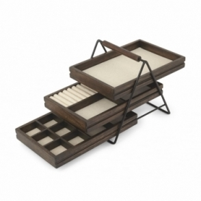 Umbra Terrace Jewellery Tray Black / Walnut