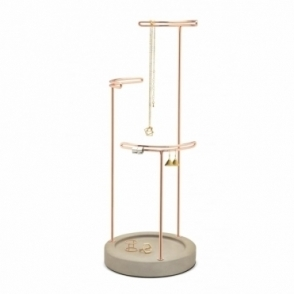 Tesora Jewellery Stand - Concrete / Copper