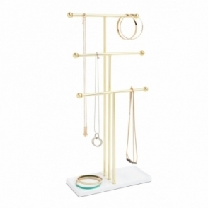 Trigem Jewellery Stand - White / Brass