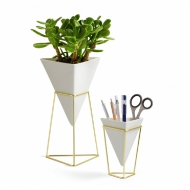Trigg Vase White/Brass Set of 2