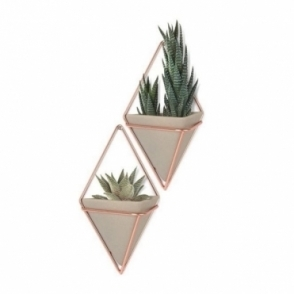 Trigg Wall Planters Concrete/Copper Small - Set of 2