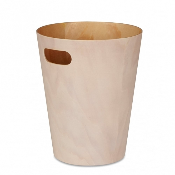 Umbra Woodrow Can White / Natural Waste Paper Bin
