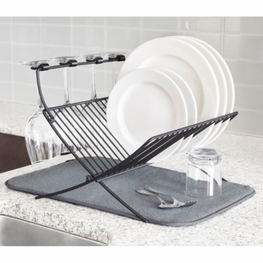Xdry Folding Dish Rack with Drying Mat