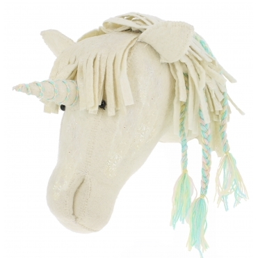 Unicorn Plaited Felt Animal Wall Head - Mother of Pearl