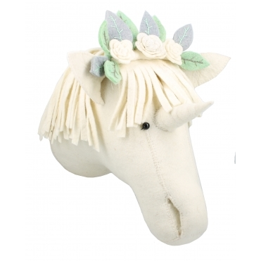 Unicorn with Flower Headdress Felt Animal Head - Wall Mounted