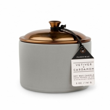 Vetiver & Cardamom 5oz Scented Candle - Ceramic & Copper Lid