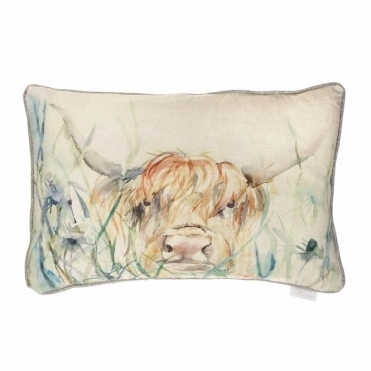 Bramble View Rectangular Cushion - Highland Cow