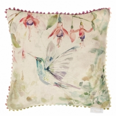 Fuchsia Flight Square Cushion - Hummingbird