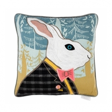 Herbert Hare Square Cushion - Applique & Embroidery