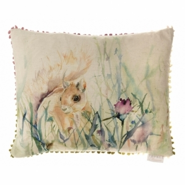 Winter Harvest Rectangular Cushion - Squirrel