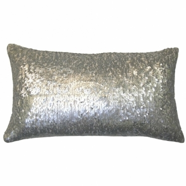 Aquilla Sequin Rectangular Cushion - Silver