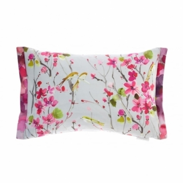Armathwaite Blossom Silver Rectangular Cushion - Birds