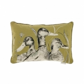 Dabbling Ducks Rectangular Cushion - Olive