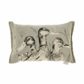 Dabbling Ducks Rectangular Cushion - Silver