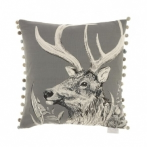 Darby Charcoal Square Cushion - Stag